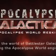 Apocalypse World re-skinned for the Battlestar Gallactica setting. Development includes: 13 character playbooks, two scenarios, crisis clocks, a fleet and battlestar playbook and a cylon playbook.